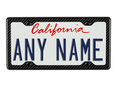 Carbon Fiber License Plate Frame - 4 Holes Minimal - on license plate