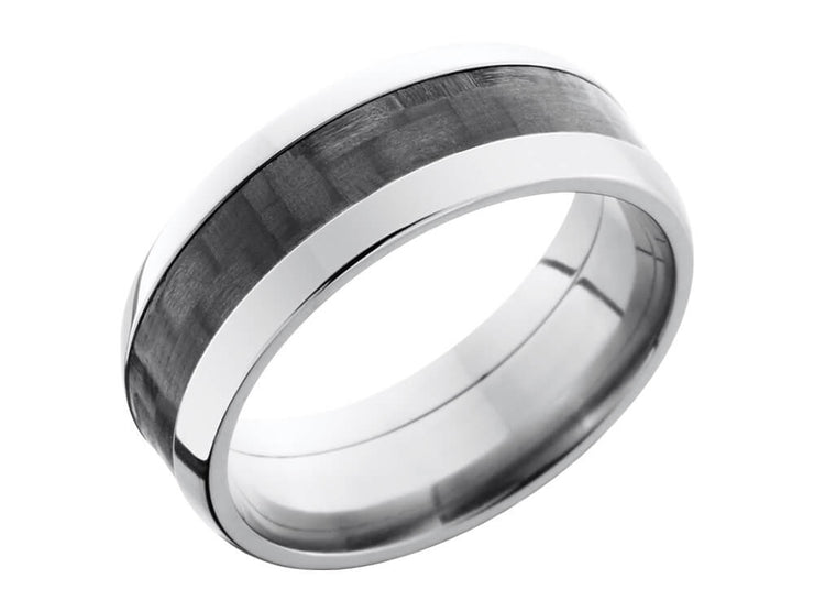 8mm Titanium Domed Ring With 4mm Real Carbon Fiber Inlay side
