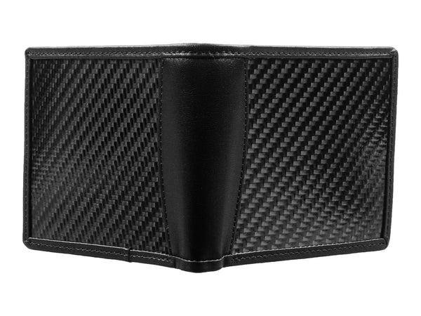 Leather and carbon fiber wallet - bi-fold - front and back