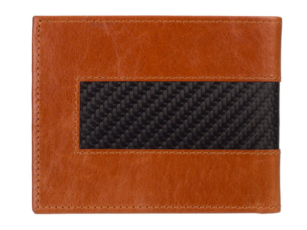 Londono carbon fiber and brown leather wallet, back
