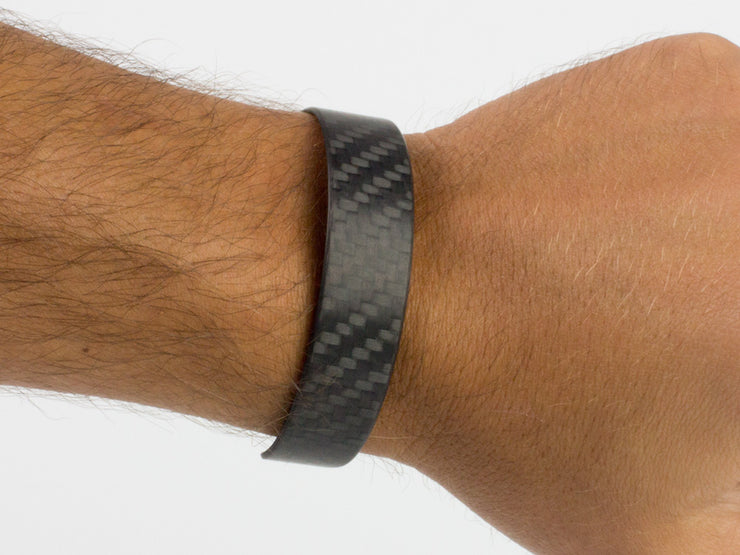 Ultra carbon fiber bracelet on wrist