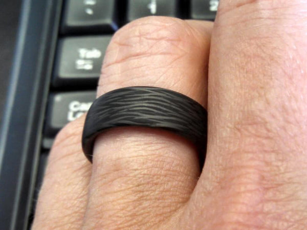 Wave Carbon Fiber Ring by Element Ring Co - On Finger