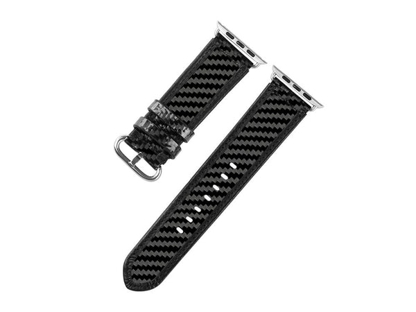 Real Carbon Fiber and Leather Band for Apple Watch 42mm