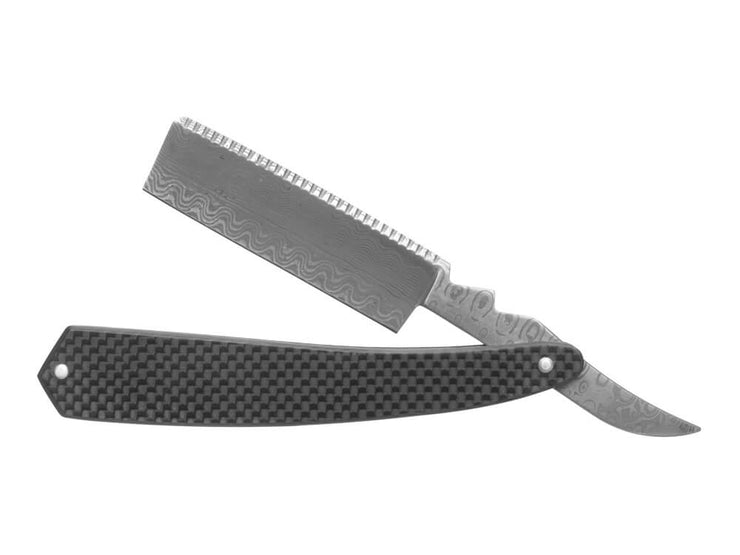 Damascus Steel Straight Razor with Carbon Fiber Handle, partially open