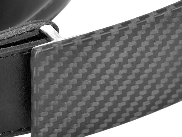 Carbon Touch Black Leather Belt with Carbon Fiber Buckle - Buckle Up Close