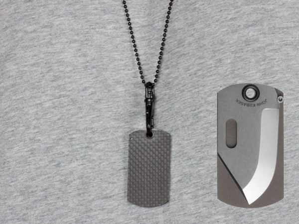 John Kubasek MAG-TAG Folding Dog Tag Knife with Carbon Fiber