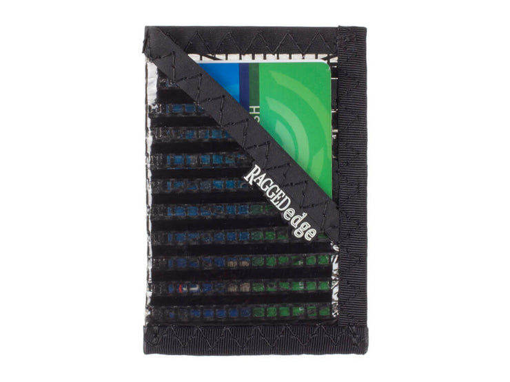 RAGGEDedge Carbon Fiber Sailcloth Card Sleeve ID, front with cards