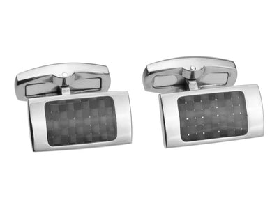 Titanium and Carbon Fiber Rectangle Cuff Links