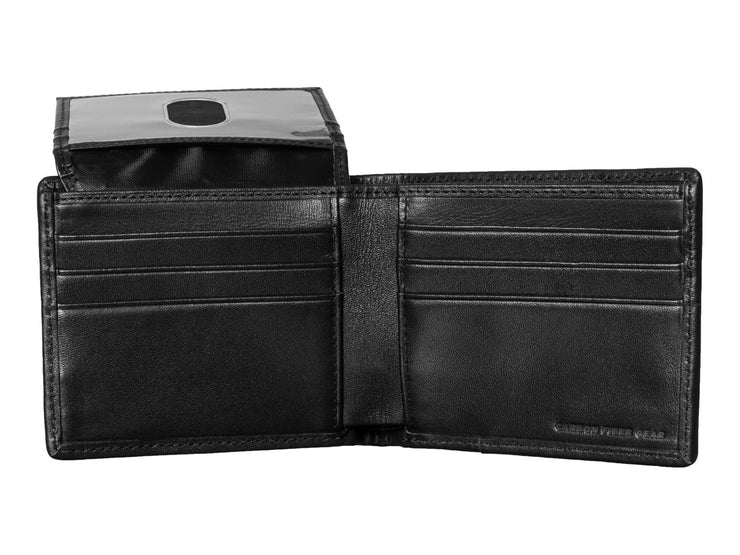 Carbon fiber and leather bi-fold wallet inside