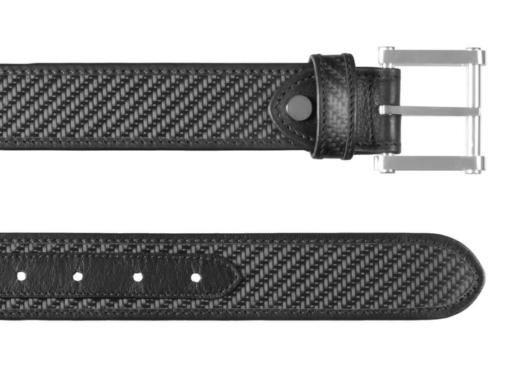 Londono Carbon Fiber & Leather Tank Belt - Black - both ends up close