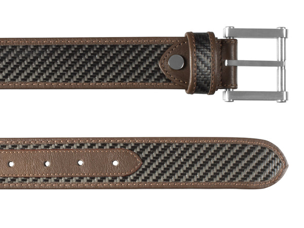 Londono Carbon Fiber & Leather Tank Belt - Brown, both ends up close