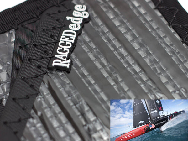 RAGGEDedge Carbon Fiber Sailcloth Card Sleeve ID, up close