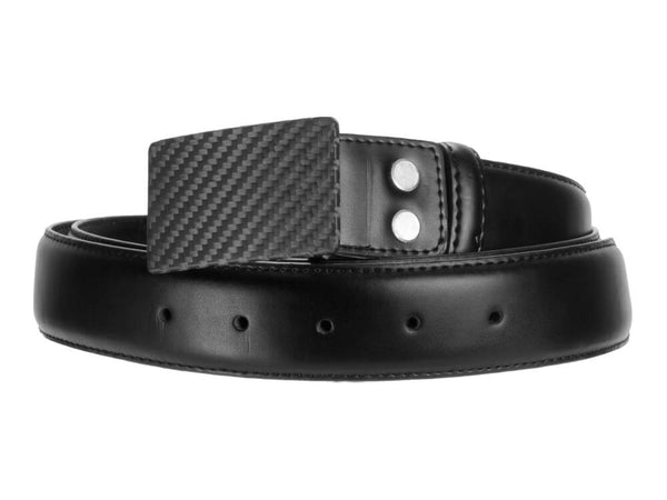 Carbon Touch Black Leather Belt with Carbon Fiber Buckle - Rectangular