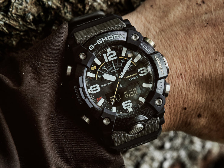 Casio G-Shock Mudmaster GG-B100-1A3 green on wrist