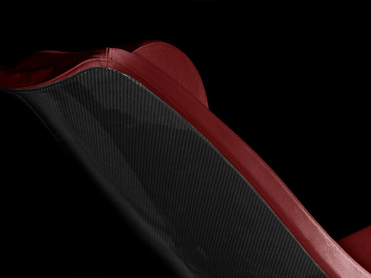 Kedo X-1 carbon fiber lounge chair - red leather back