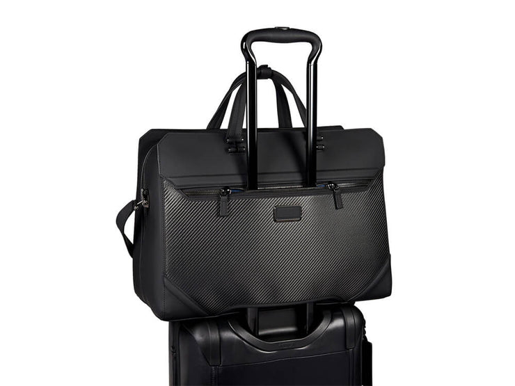 Tumi CFX Bayview Carbon Fiber Travel Duffel on a bag