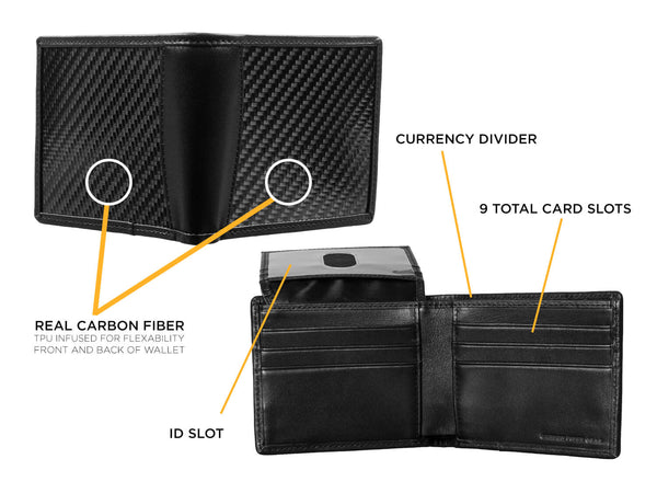 Real carbon fiber and leather bi-fold wallet