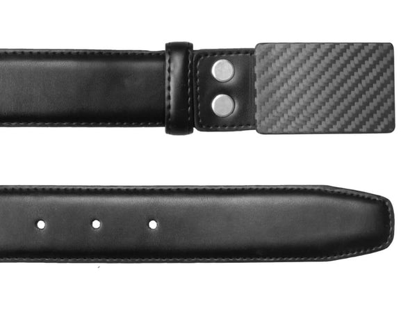 Carbon Touch Black Leather Belt with Carbon Fiber Buckle - Rectangular - both ends