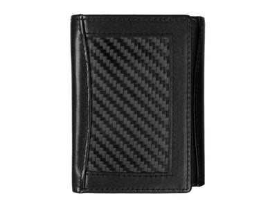 Leather and carbon fiber tri-fold wallet