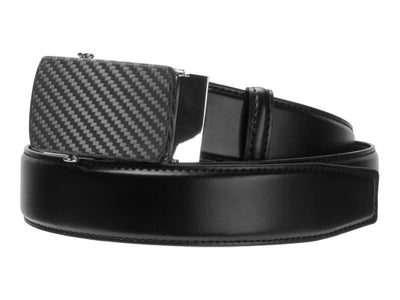 Carbon Touch Black Leather Belt with Carbon Fiber Buckle - Rounded
