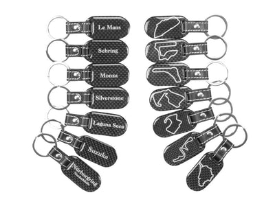 Carbon Fiber Racetrack Keychain with Stitched Leather