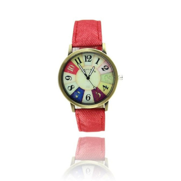 Genvivia Graffiti Pattern Women Watch 2017 Fashion Leather Band Analog Quartz Vogue Wrist Watches free shipping