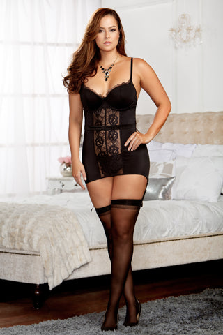 Scallop Lace and Microfiber Belted Chemise