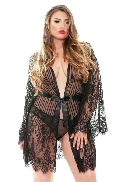 This beautiful black robe is a sexy, 1920's vintage nod. The long lacey, scallop edged sleeves are elegant and flattering, heading all the way down just above your fingers (though if you have particularly short arms, please take this into account). Intricate striped lace continues down the body with a floral pattern at the hips and thighs. Pairs beautifully with something solid colored underneath or a bra and panty set with a very simple lace pattern. Ideal for any body type.
