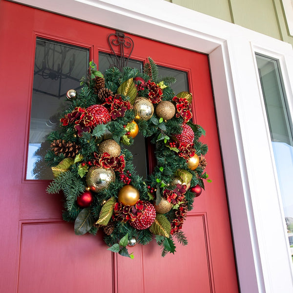 Scarlet Hydrangea Decorated Wreath