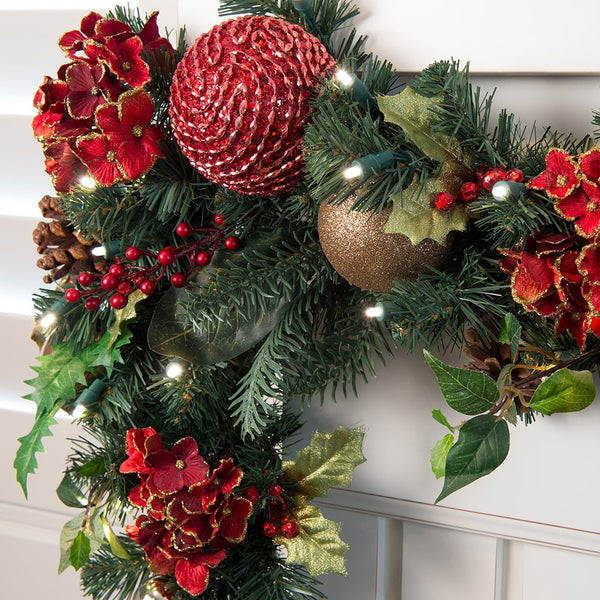 Scarlet Hydrangea Decorated Garland