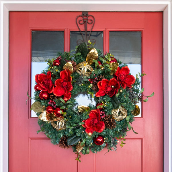 Red Magnolia Decorated Wreath