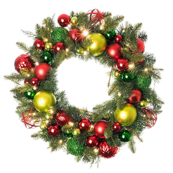 Decorated Wreaths - Festive Holiday Decorated Wreath by Village Lighting Company