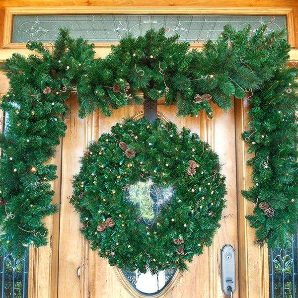 Non-Decorated Wreath - Black Forest LED Wreath by Village Lighting Company