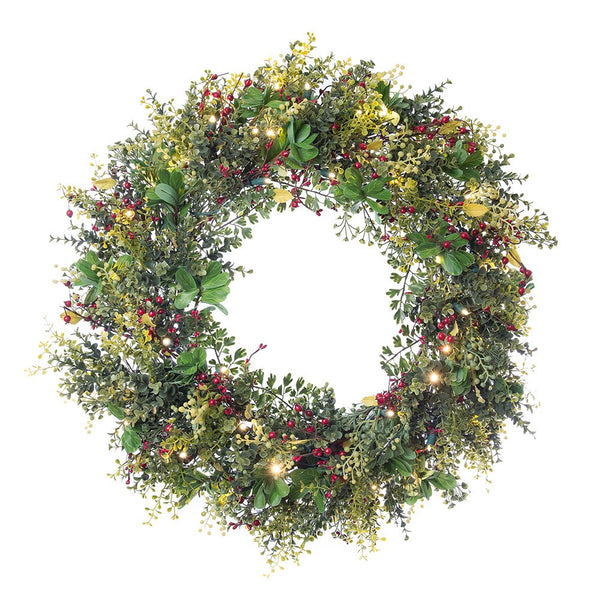 Decorated Wreaths - Christmas Boxwood & Berry Decorated Wreath by Village Lighting Company