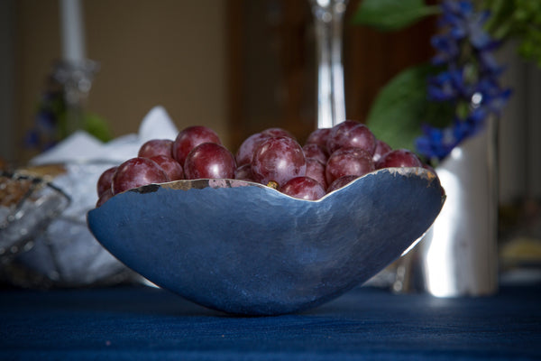 Silver poppy bowl with fresh summer snacks! Yes, please!