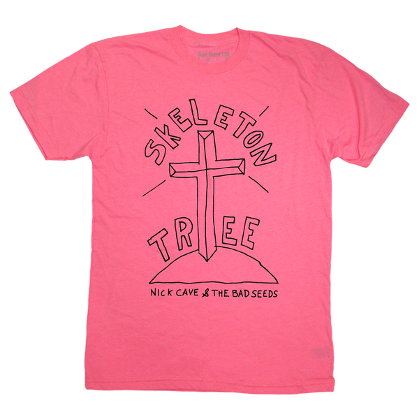Neon Pink Skeleton Tree Black Sketch T-shirt