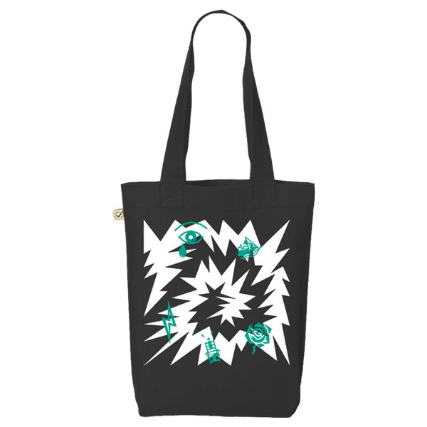 DARK GREEN LOVELY CREATURE BLACK TOTE BAG