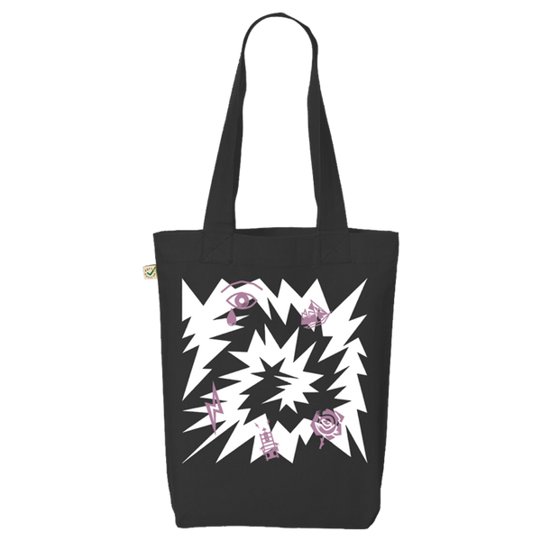 PINK LOVELY CREATURE BLACK TOTE BAG