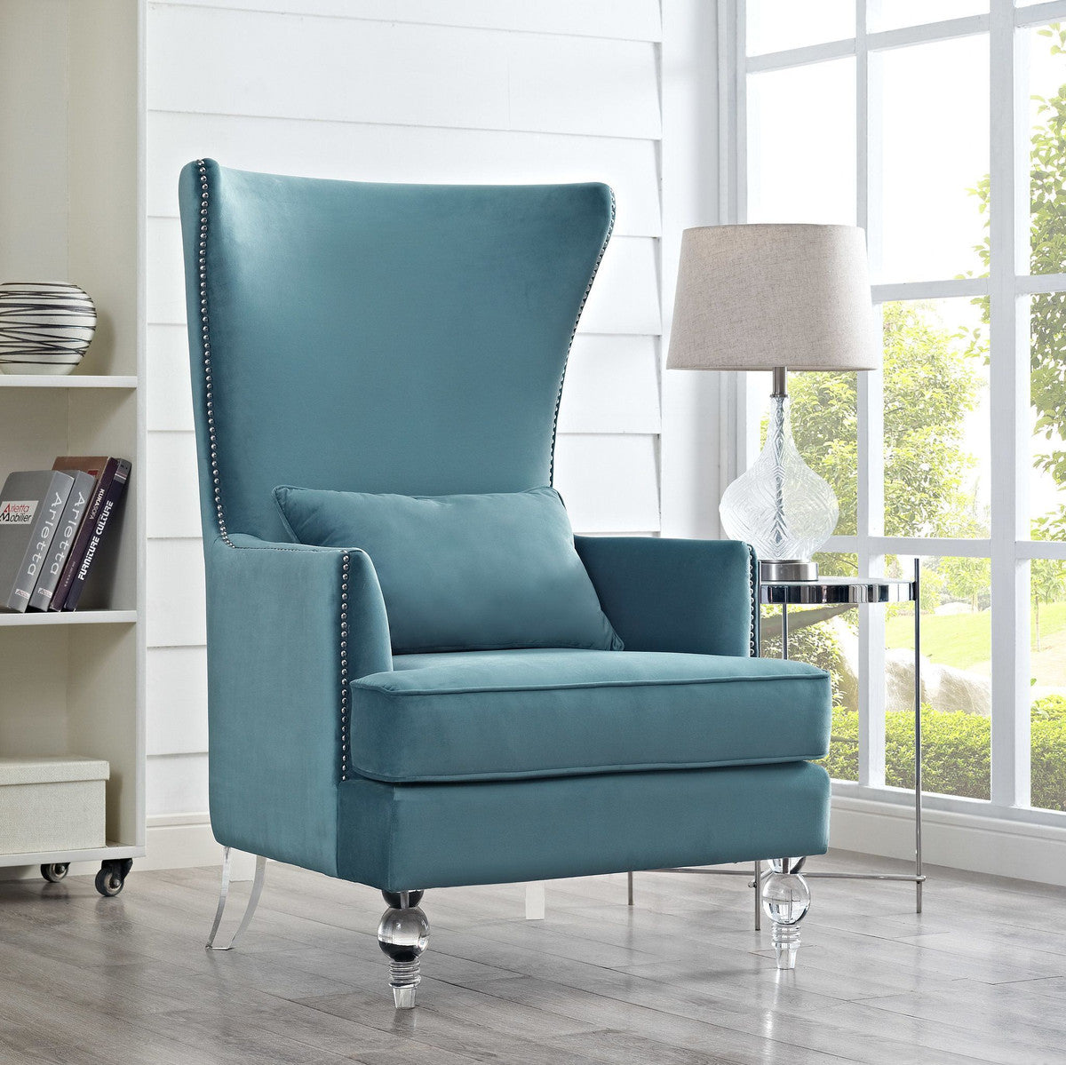 Bristol Sea Blue Velvet Chair with Lucite Legs
