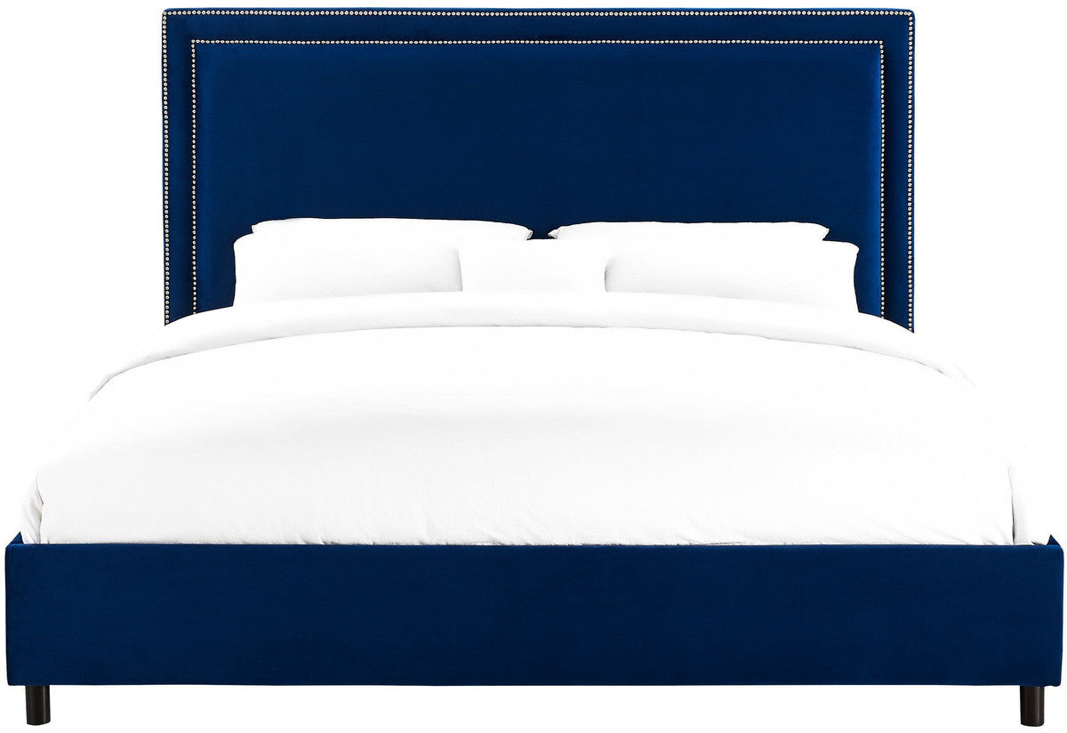 Reed Navy Velvet Bed in King Size