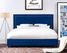 Load image into Gallery viewer, Reed Navy Velvet Bed in Queen Size