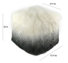 Load image into Gallery viewer, Tibetan Sheep White to Grey Pouf