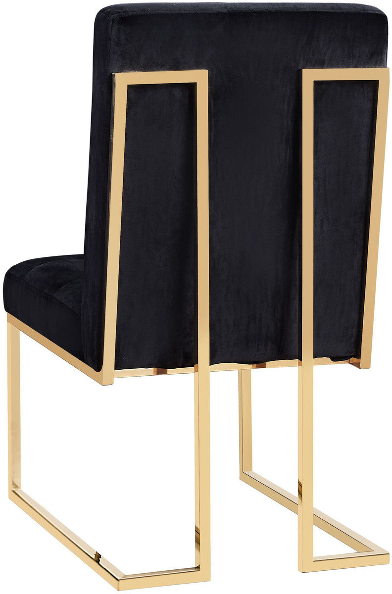 Akiko Black Velvet Chair (Set of 2)