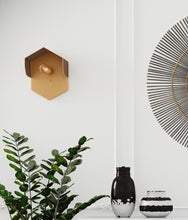 Load image into Gallery viewer, Mokhtar Tan Hexagon Wall Sconce