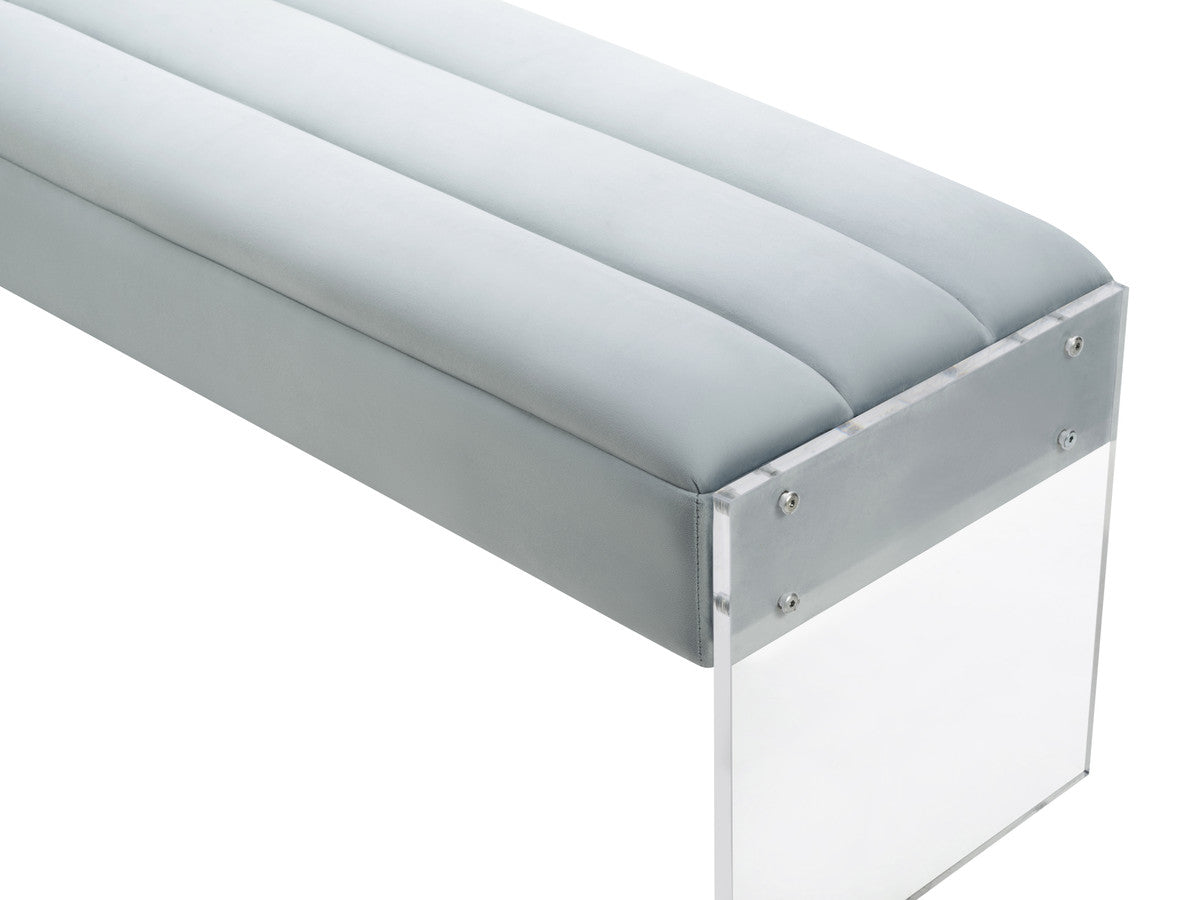Jax LG Velvet Bench with Lucite Sides
