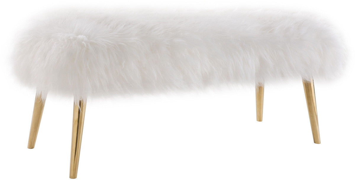 Churra White Sheepskin Bench