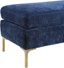 Load image into Gallery viewer, Delilah Navy Textured Velvet Bench