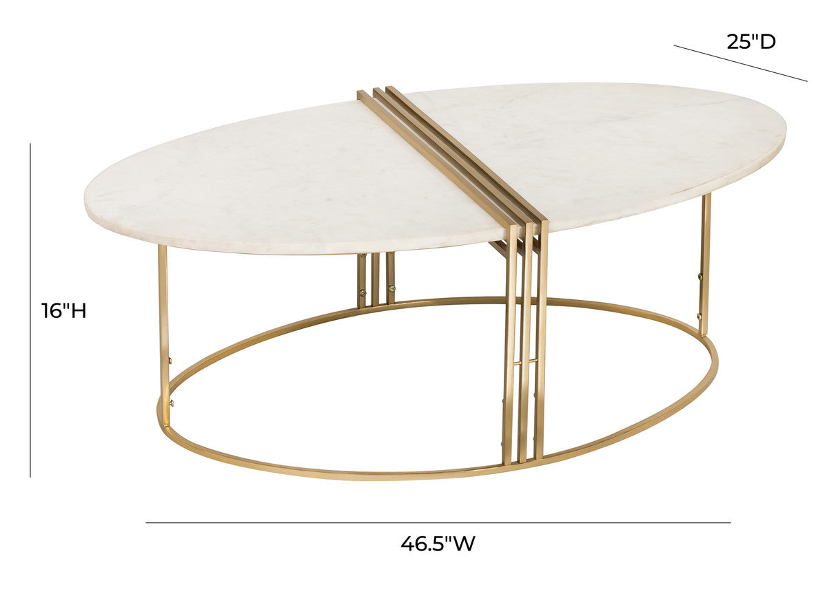 Caleb Oval White Marble Cocktail Table