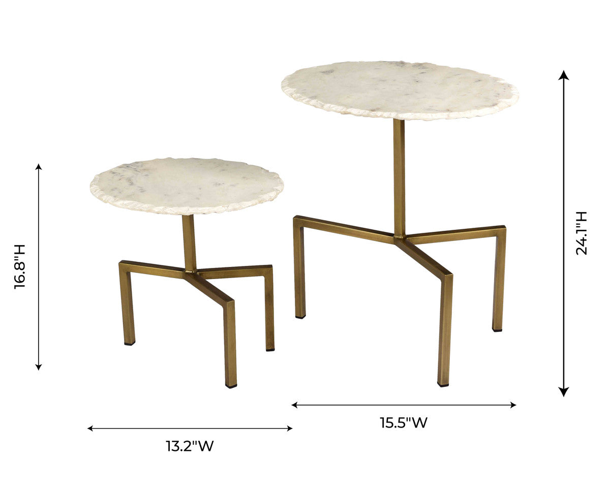 Hanish White Marble Tables - Set of 2