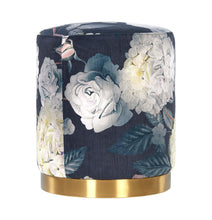 Load image into Gallery viewer, Opal Floral Velvet Ottoman (Gold Base)